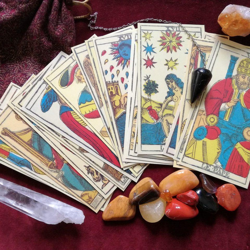 tarot, crystals, pendulum